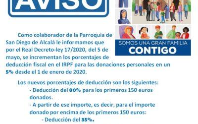 DEDUCCION FISCAL DONACIONES PERSONALES A LA IGLESIA